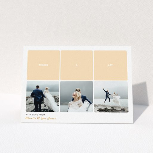 """A wedding thank you card design named """"Three-on-Three"""". It is an A5 card in a landscape orientation. It is a photographic wedding thank you card with room for 3 photos. """"Three-on-Three"""" is available as a folded card, with tones of orange and white."""