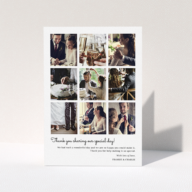 """A wedding thank you card named """"Too Many Good Memories"""". It is an A5 card in a portrait orientation. It is a photographic wedding thank you card with room for 9 photos """"Too Many Good Memories"""" is available as a folded card, with mainly white colouring."""