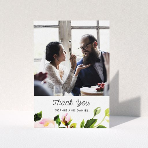 """A wedding thank you card called """"Watercolour Photo"""". It is an A5 card in a portrait orientation. It is a photographic wedding thank you card with room for 1 photo. """"Watercolour Photo"""" is available as a folded card, with tones of green, pink and dark green."""