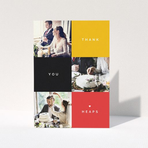 """A wedding thank you card called """"Yellow, Black, Red"""". It is an A5 card in a portrait orientation. It is a photographic wedding thank you card with room for 3 photos. """"Yellow, Black, Red"""" is available as a folded card, with tones of black, red and yellow."""