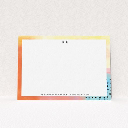 """A womens correspondence card named """"Abstract Pastel"""". It is an A5 card in a landscape orientation. """"Abstract Pastel"""" is available as a flat card, with tones of orange, red and yellow."""