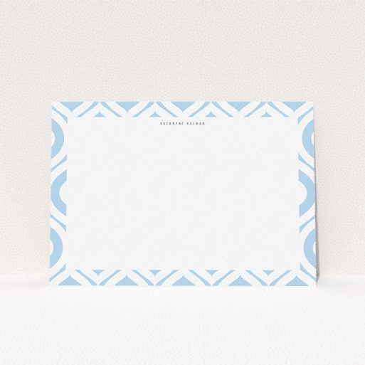 """A womens correspondence card design called """"Arabian diamonds"""". It is an A5 card in a landscape orientation. """"Arabian diamonds"""" is available as a flat card, with tones of blue and white."""