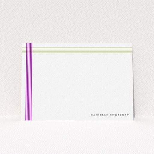 """A womens correspondence card template titled """"Crossing Paths"""". It is an A5 card in a landscape orientation. """"Crossing Paths"""" is available as a flat card, with tones of yellow and purple."""