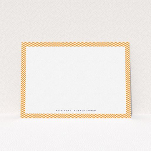"""A womens correspondence card design titled """"Hounds Tooth Orange"""". It is an A5 card in a landscape orientation. """"Hounds Tooth Orange"""" is available as a flat card, with tones of orange and white."""