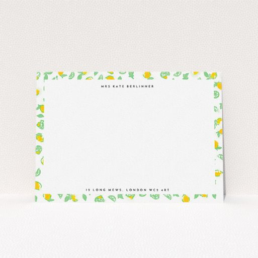 """A womens correspondence card template titled """"Madeira"""". It is an A5 card in a landscape orientation. """"Madeira"""" is available as a flat card, with tones of green and yellow."""