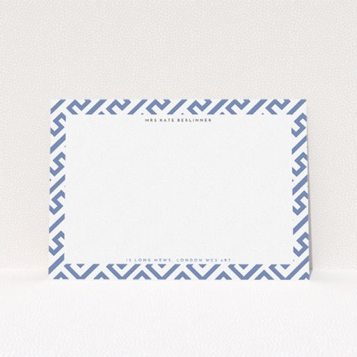 """A womens correspondence card design named """"Round the corner"""". It is an A5 card in a landscape orientation. """"Round the corner"""" is available as a flat card, with tones of blue and white."""