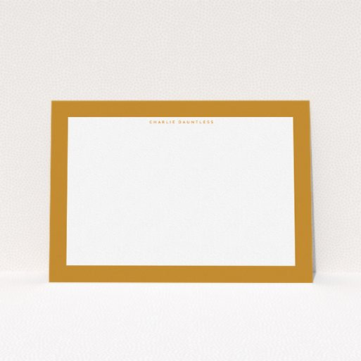 """A womens correspondence card called """"The impact of orange"""". It is an A5 card in a landscape orientation. """"The impact of orange"""" is available as a flat card, with tones of orange and white."""