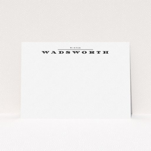 """A womens correspondence card design named """"Underwritten"""". It is an A5 card in a landscape orientation. """"Underwritten"""" is available as a flat card, with mainly white colouring."""