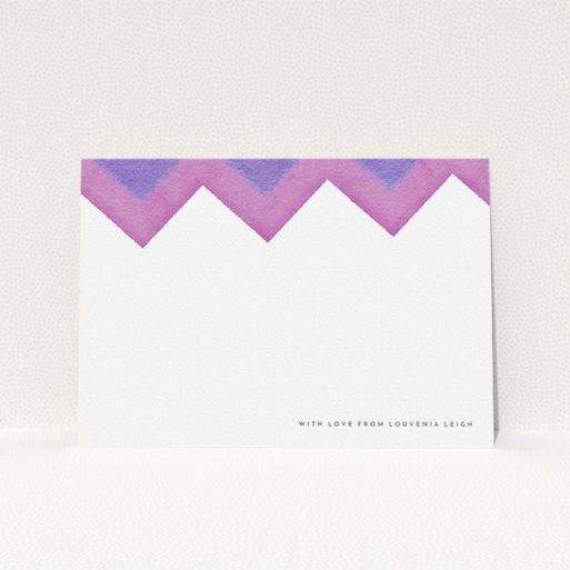 """A womens correspondence card design called """"Vibrant Peaks"""". It is an A5 card in a landscape orientation. """"Vibrant Peaks"""" is available as a flat card, with mainly purple/dark pink colouring."""