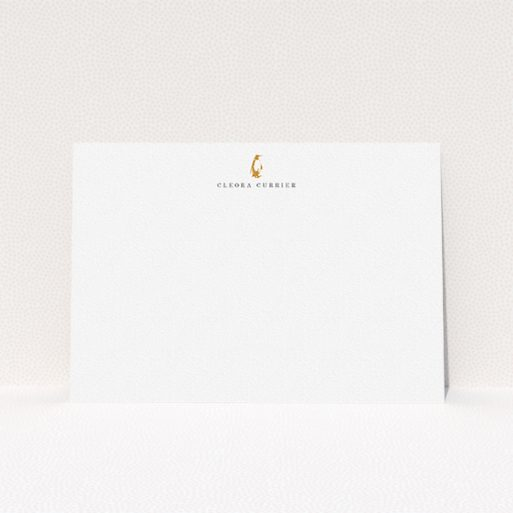 """A womens correspondence card design called """"Where is the penguin"""". It is an A5 card in a landscape orientation. """"Where is the penguin"""" is available as a flat card, with tones of white and Dark orange."""